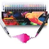 AVESI Premium Aquarell Pinselstifte Set - 24 Brush Pens + 1 Wassertankpinsel - Aquarellstifte mit Wasserfarbe und echter Pinselspitze - Ideal für Malerei, Handlettering, Bullet Journal, Mangas