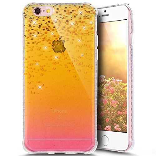 Paillette Coque pour iPhone 6 Plus/6S Plus,iPhone 6S Plus Coque en Silicone Glitter, iPhone 6S Plus Silicone Coque fleurs de cerisier roses Housse Transparent Etui Gel Slim Case Soft Gel Cover, Ukayfe Plage de sable