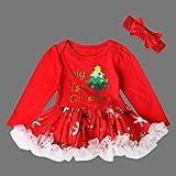 Robe de Noël + Bandeau Pour Bébé Fille, Internet Robe de Dentelle Tutu de Noël à Manches Longues Ensemble de Vêtements de Noël (D, 6 Mois)