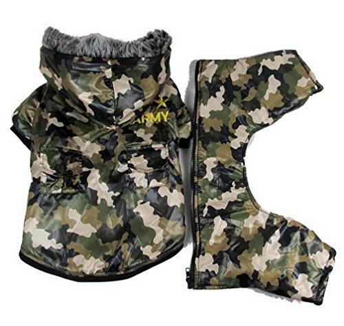ranphy Kleiner Hund Kleidung für weiblich Stecker Hund Hoodie Camo Hundemantel wasserdicht Winter Army Grün Camo Winter Parka