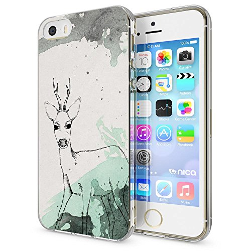 iPhone SE 5 5S Hülle Handyhülle von NICA, Slim Silikon Motiv Case Schutzhülle Dünn Durchsichtig, Etui Handy-Tasche Back-Cover Transparent Bumper für Apple iPhone 5 5S SE, Designs:Deer Deer