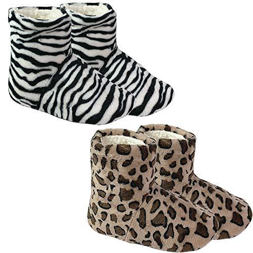 FineHome Kuschelige Herren/Damen Winterhausschuhe Hausschuhe Motiv Zebra Hausstiefel Antirutsch Hüttenschuhe künstliches Lammfell und rutschfeste Sohle in Größe 36-41, Größen:40/41, Model:Zebra