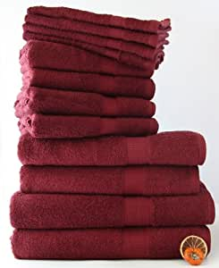 24 tlg. Handtuchset in BORDEAUX, 8x Handtuch 50x100cm / 4x Badetuch 100x150cm / 4x Duschtuch 70x140cm / 8x Gästetuch 30x50cm 100% Baumwolle 500g/m²