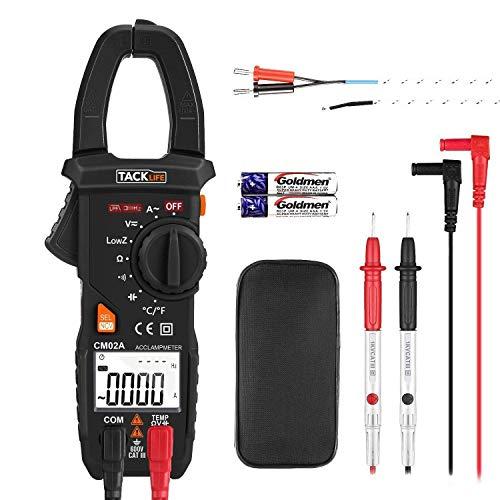 Tacklife CM02A Avanzado Pinza Multimeter detección de voltaje sin contacto (NCV), true RMS, 6000 cuentas, temperatura, corriente de CA, voltajeCA/CC, resistencia, prueba de la capacidad electritica