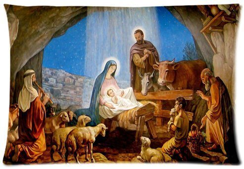 Sdltkhy Christmas Nativity Holy Family, Tree-Three Wisemen Christmas Cotton Pillow Case Cover Standard Size 20x30 inch - Tree Christmas Set Nativity