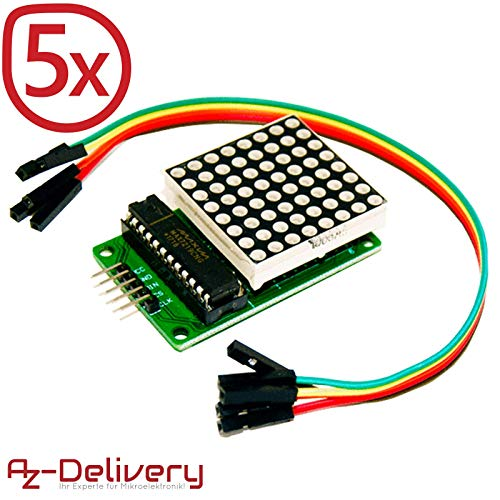 AZDelivery 5 x MAX7219 8x8 1 Dot Matrix MCU LED Anzeigemodul für Arduino mit gratis eBook! Led-matrix-display