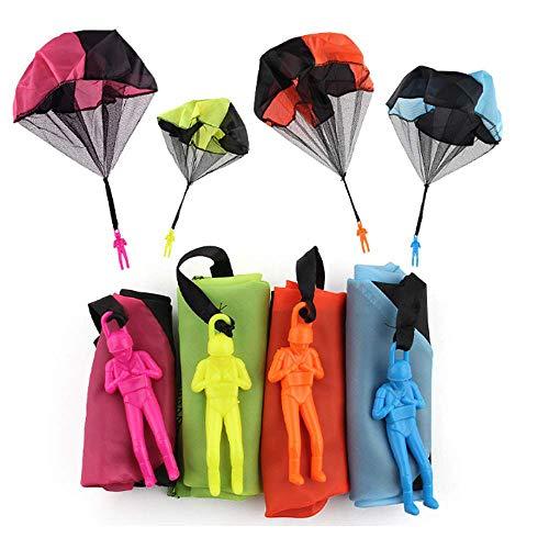 ysister Fallschirmspringer Spielzeug Fallschirm Spielzeug, 4 Stück Kinder Hand werfen Fallschirm Fallschirmspringer Wurf Parachute Kinderdrachen Spielzeug Geschenk für Draußen 15.5*4.8cm