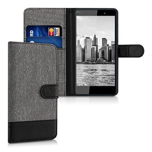 kwmobile wiko fever 4g custodia portafoglio - cover porta carte tessuto simil pelle stand per wiko fever 4g - case magnetica