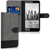kwmobile Funda para Wiko Fever 4G - Wallet Case plegable de cuero sintético - Cover con tapa tarjetero y soporte en gris negro