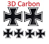 Eisernes Kreuz, eiserne Kreuz, Iron cross, Autoaufkleber 10 x 10 cm in 3D CARBON 6 Stück