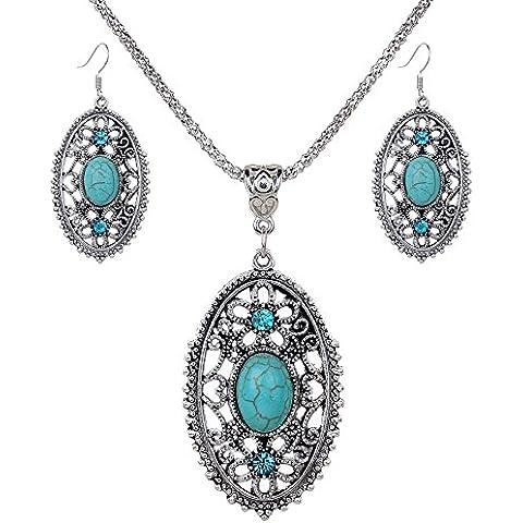 3pcs Vintage Beach Set di gioielli in argento tibetano turchese ovale Inlay CZ Collana Orecchini Donne