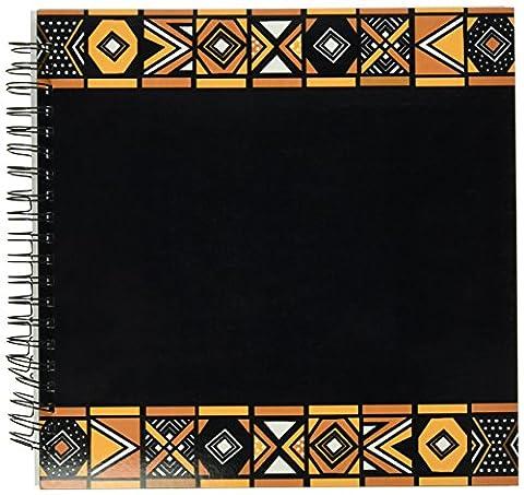 3dRose db_76556_2 Brown & Black African Pattern Art of Africa in spired by Zulu Beadwork Geometric Designs Memory Book, 12 by