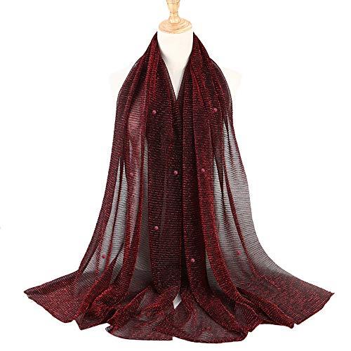 Mode Frau Damen Polyester Schal Muslim Weich Wickeln Lange Modus Retro Weiblich Mehrzweck Beiläufig Klassisch Einfachheit Schal weich Schal glamourös ()