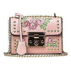 Idea Regalo - Borsa Donna - Luoluoluo Donne Messenger borse ricamo rose crossbody tracolla borse catena corpo -Borsa a Tracolla - (dentellare)