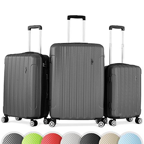 Vojagor 3er Kofferset | Größe L-90l M-60l S-30l, Hartschalenkoffer Trolley Set integriertes Zahlenkombinationsschloss | Reisekoffer Rollkoffer Koffer in verschiedenen Farben (Anthrazit)