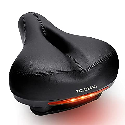 Comfortable Wide Bike Seat by TOSOAR® Memory Foam Padded Dual Spring Designed Soft Breathable Bicycle Saddle Cushion with Waterproof Safety Taillight (black)