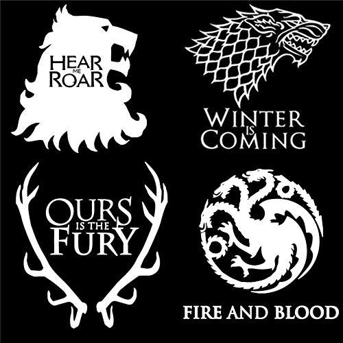 JXNY Pegatinas de pared Juego de tronos Juego de 4 calcomanías: House Stark, Targaryen, Lannister y Baratheon Etiqueta de pared Decoración de arte 58X58 CM
