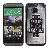 DREAMCASE (NICHT HTC ONE MINI 2) Bibelzitate Bild Hart Handy Schutzhülle Schutz Schale Case Cover Etui für HTC ONE M8 - Eibe Gott fur uns ist. Wer kann wider uns sein? - Romer 8:31
