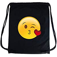 PREMYO Cotton Drawstring Bag with Smiley Face Throwing a Kiss Motif. High Quality Emoji Print Drawstring Backpack Black. Custom Printed Canvas Gym Bag. On The Go Sackpack Rucksack for Sports Festivals
