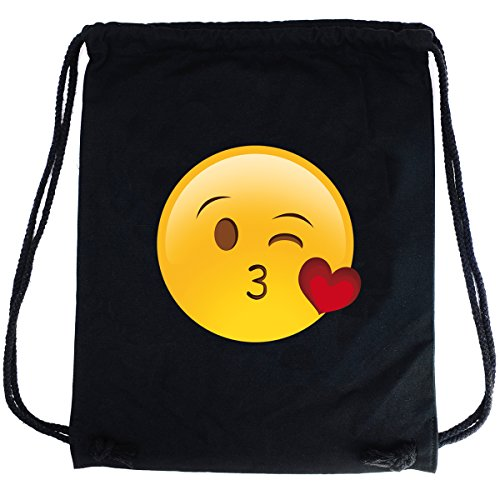 Imagen de premyo bolsa de cuerdas negra 100% algodón con emoji smiley beso corazón dulce.  con cuerdas con impresión emoticon en color de alta calidad gymsac con cordón saco de gimnasio ideal para viajar