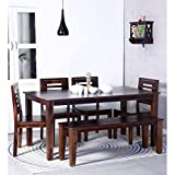 #6: Jipsom Handcrafted Six Seater Dining with Bench in Walnut Finish by Wudstuk