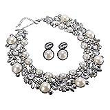 Jerollin Set Collana da Donna Girocollo con Orecchini Perle Diamante Regalo