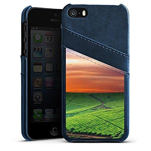 Apple iPhone 6 Housse Étui Silicone Coque Protection Paysage de prairies Coucher de soleil Irlande Étui en cuir bleu marine