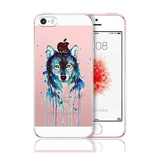 iPhone 5/5s/SE hülle, Vanki® Schutzhülle Clear Case Cover Bumper TPU Silikon Durchsichtig Handyhülle für iPhone 5/5S/SE (Tiere und Pflanzen) (iPhone 5/5s/SE, 8) 8