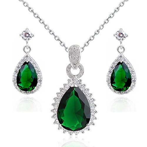 Encantador 18 ct Chapado en oro blanco Verde Esmeralda Teardrops Crystals from Swarovski collar de Royal-Juego Perforadas Pendientes