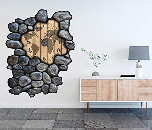 3D Wandtattoo inkl. Uhr 97x120cm Karte Welt Weltkarte Holz braun Landkarte Afrika Aufkleber Wand Sticker Wanduhr Tattoo Wanddurchbruch T0033, Farbe der Uhr:Farbe der Uhr Silber (Landkarte Wand Welt Uhr)