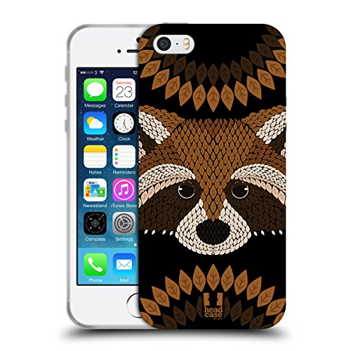 Head Case Designs Raccoon Animal Leaf Mosaic Soft Gel Case for Apple iPhone 5 / 5s / SE
