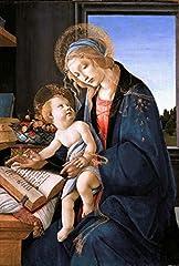 Idea Regalo - Legendarte P-096 Quadro di Sandro Botticelli - Madonna del Libro, Stampa digitale su tela, Multicolore, cm. 60 x 90