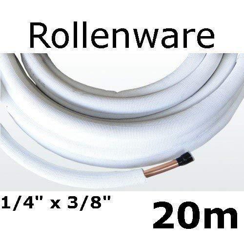 Kältemittelleitung Isoliert Klimarohr Doppelrohr 20 Meter Rolle 1/4 3/8 Zoll - Isolierte Klimaanlage
