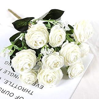 Gulin Flores Artificiales de Camelia Rosa, Ramo de Flores de Seda, Novia decoración del hogar decoración de la Boda Flores Falsas