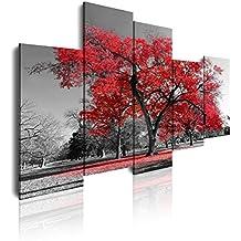 Dekoarte 16 - Cuadro moderno en lienzo 5 piezas paisaje naturaleza con árbol rojo, 150x3x100cm