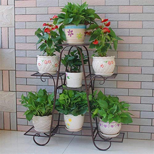 Moderne Wohnzimmermöbel Metall Eisen Blume Rack / Ständer 7 Tiered Pflanze Blume Ausstellungsstand Wohnzimmer Balkon Indoor & Outdoor (Größe: 83 * 25 * 83cm) (Farbe: Schwarz) ( Farbe : Brown )