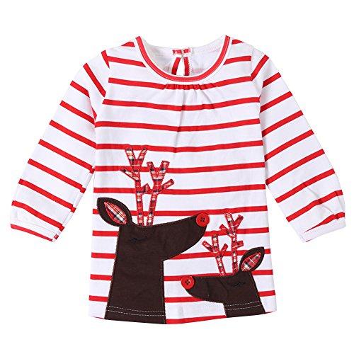 Funnycokid Kleinkind Kinder Baby Mädchen Santa Druck Gestreift A-Linie Swing Kleid Weihnachten Outfits Kleidung