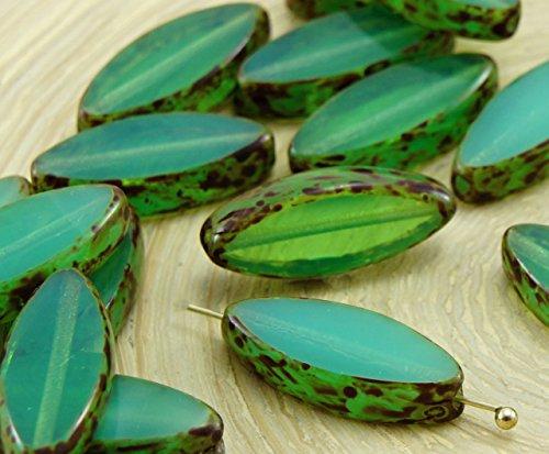 6pcs Picasso Brun Opale Verte Ovale et Plate de Pétales de Table à la Fenêtre de Coupe tchèque Perles de Verre 18mm x 7mm