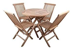 point-giardino Mobili Giardino tavolo in teak impostare teak + 4 sedie -