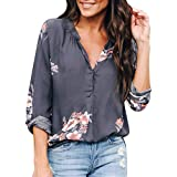Ieason Women Top, Blouse Women Flower Print Long Sleeve T-Shirt V Neck Loose Button Chiffon Top