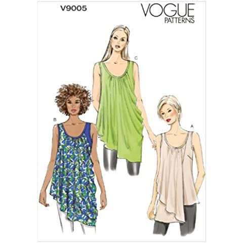 Vogue Patterns V9005 Y - modelli di cucito per camicie (taglie XS, S e M), multicolore