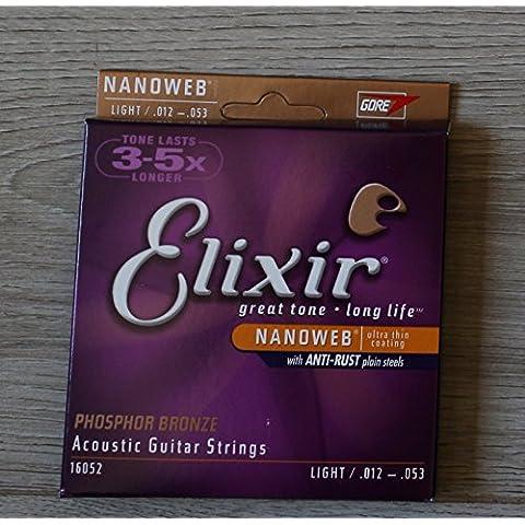Elixir 92/8 Phosphor Bronze Acoustic Guitar Strings Nanoweb luce (0, 012-0,053 16052) - 92/8 Phosphor Bronze Strings
