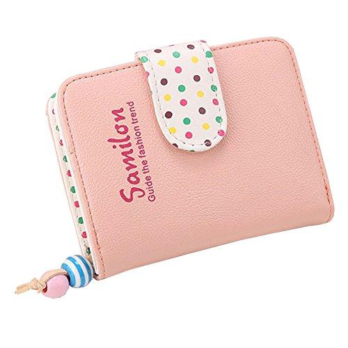 Portafoglio di cuoio di cuoio dell'unità di elaborazione mini magica della mini donna, borsa del supporto chiave (LightBlue) Rosa