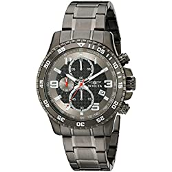 Invicta Men's Quartz Watch with Chronograph Display and Stainless Steel Bracelet