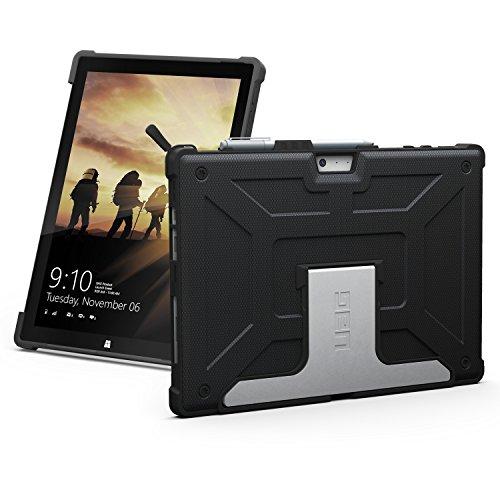 URBAN ARMOR GEAR Folio Schutzhülle für Microsoft Surface Pro 4 - schwarz [Microsoft zertifiziert | TypeCover kompatibel | Surface Pen Halterung | Stoßfest | Standfunktion] - UAG-SFPRO4-BLK-VP