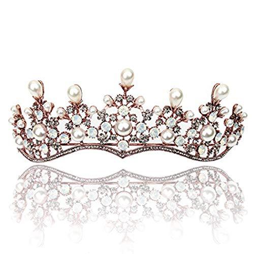handcess Hochzeit Krone und Tiara Blume Prinzessin Queen Glitzerperlen Haar Zubehör für Braut und Brautjungfer (Tiara-haar-zubehör)