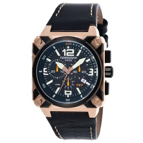 Torgoen - T27105 - Montre Homme - Quartz Analogique - Cadran Noir - Bracelet Cuir Noir