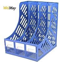 weimay escritorio archivos accesorio de malla triple Marcos de plástico revista titulares documento organizador caja de almacenamiento para escuela oficina, color azul 30*26*24cm