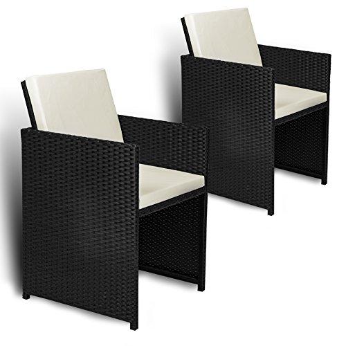 Estexo 2er Set Polyrattan Gartensessel, Rattan, Gartenstühle, Sessel, Stuhl, Stühle (Schwarz)