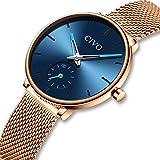 Damen Uhren Frauen Uhr Ultra Dünne Minimalistische Wasserdicht mit Edelstahl Mesh Armband Mädchen Mode Luxus Armbanduhr Elegant Geschäfts Beiläufig Analog Quarz Uhren Rose Gold